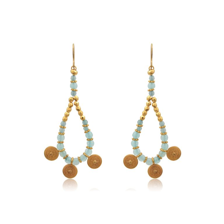 Boho drop handmade earrings, made with polygonal jade beads, 24K gold-plated brass and 24K gold-plated elements. Absolute summer combination of mint, bright green and gold, these earrings complete perfectly your everyday look and are an ideal choice for casual or formal looks. Combine them with the necklaces of the Bohemian Queen series for a complete look!