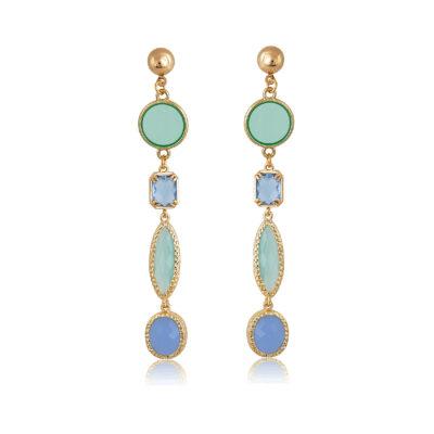 Blue and mint multi-shape earrings