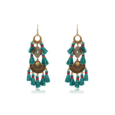 Boho drop earrings with petrol tassels