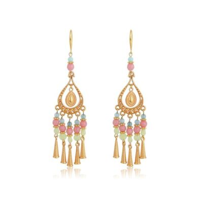 """Bohemianhandmade drop-earrings.Made with pink, light green, diamond cut glass and jade beads, featuring 24K gold-plated Brass cones. An absolutesummer combination of pastel pink, blue, mint and gold, this necklace complete perfectly your everyday look and is an ideal choice for casual looks. Combine it with the Callistoearrings of the """"Bohemian Queen"""" collection for a complete look!"""