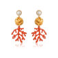 Coral branch and golden disk drop earrings