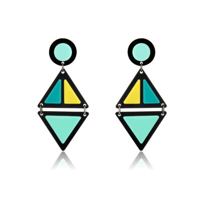Double triangle two tone plexi earrings