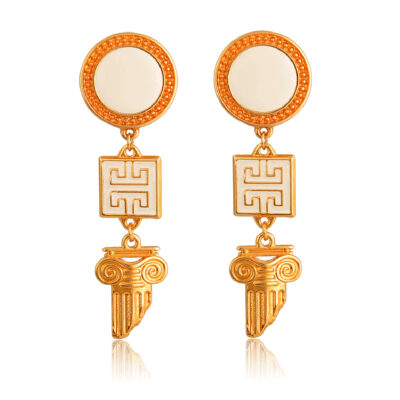 """So chic and beautiful, these earrings are so in right now! Add it to your Greek chic collection and combine it with our other jewelry from the""""All Greek to me""""series. This pair is so beautiful, made to match your everyday Greek chic outfit. Ideal for matching with a total white outfit or to add some Greek accent to your wedding day!"""