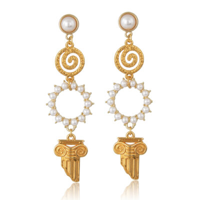 Drop earrings embellish with pearls and ancient Greek elements