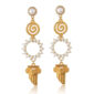 Greek-chic drop earrings, with pearl ring, spiral and 24K gold-plated column. Made to match your everyday outfit. This pair is so beautiful, it soon will be your favorite one! Ideal for matching with a total white outfit or to add some Greek accent to your wedding day!