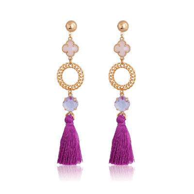 Drop earrings with crystals and a tassel
