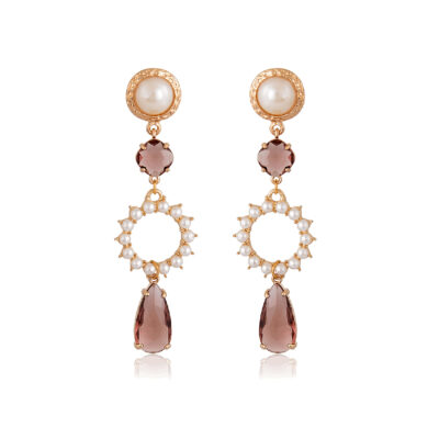 Beautiful and classic pair of earrings, with a light burgundy crystal drop, cast to a pearly circle, and a pearly stud. Perfect for a wedding day, or any formal occasion.