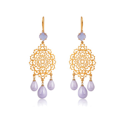 Drop filigree earrings with lilac pearl drops