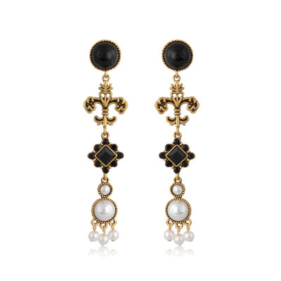 Drop statement earrings with fleur de Lys and pearls