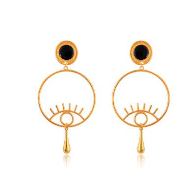 Evil-eye hoop earrings with golden drop