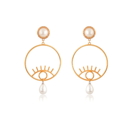 """Looking for a showstopper? We've got you covered. Take a look at these gorgeous and super stylish evil-eye and column statement hoops earrings. Made of 24K gold-plated brass and pearl drop, and pearly stud, beside the protection against the evil-eye they provide, they are a perfect finish to that """"wow"""" look. Don't forget to show us how you style it!"""