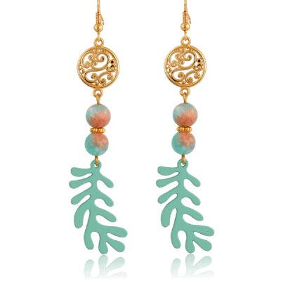 Filigree and Coral dangle earrings