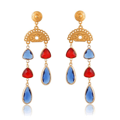 Gold drop earrings with red and blue crystals