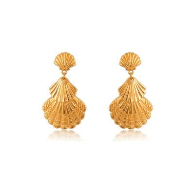 Golden double clam shell drop earrings