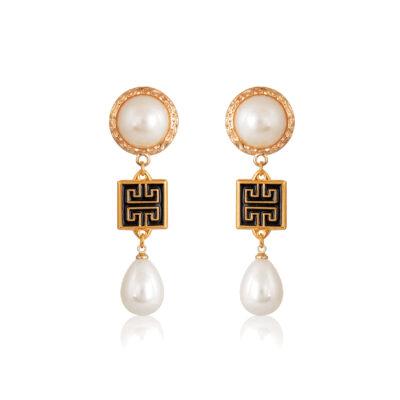 Meander Greek-chic drop earrings