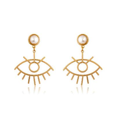 Evil-eye pearly stud earrings