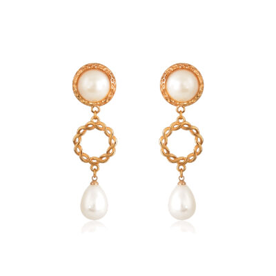 Change your gloomy day to a sunny one with these magnificent Gold Chain Link Drop Earrings! Lightweight drop earrings feature a shiny gold slim-links circle and a lovely teardrop shaped pearl. Perfect for a wedding day.