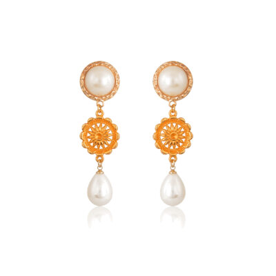 Pearly teardrop sun earrings