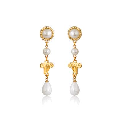 Pearly teardrop column earrings