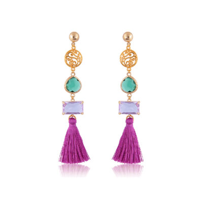 Stylish filigree and tassel drop earring with crystals