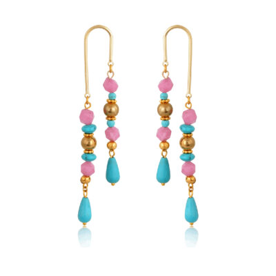 A classic summer combination of gold, pink and turquoise, They are made of howlite, CCB and jade beads.Original and sweet, these U shape earrings are so cute and so light, they'll soon become your favorite pair.
