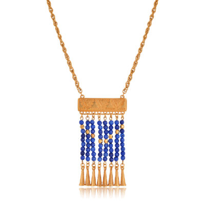 Amazing traditional 24K gold-plated necklace, with ancient Greek engravings called Akrokerama, an ancient tile pattern. Dangling little blue crystal beads and gold cones, makes this piece of jewelry one of the kind. To give a little Greek-chic touch to your outfit, wear it on a t-shirt, Bohemian dress, or over your favorite woolen sweater. All time weather and all-time classic, traditional but trendy, this necklace will uplift any outfit.