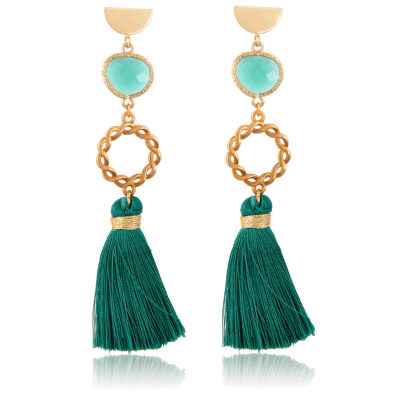This golden wrench makes all the beauty of this earring. Made of 24K gold-plated zamak and crystals. Cast to a sleek geometrical golden stud, the tassel is so thick and rich, you will definitely make an impact while wearing them. Perfect for a casual-chic outfit or a night out.