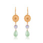 Elegant and chic pair of earrings with star flower, lilac crystal and mint pearl drop. Made of 24K gold-plated brass, this is a beautiful piece that you can wear for any casual or formal occasion.