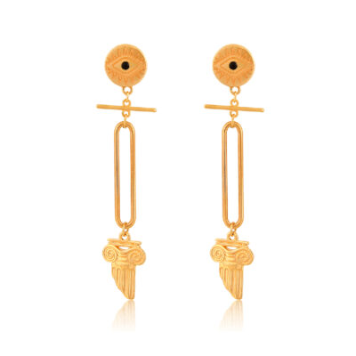 """Part of the """"All Greek to me"""" collection, this is the hottest trend of the season. These earrings feature an elegant evil-eye stud, and a stylish ionic column. The bar and the link give a modern touch to this all-time classic piece of jewelry. Pair it with our other Greek-chic jewelry."""