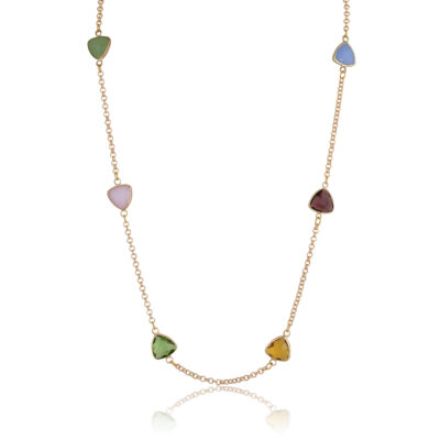 A beautiful all-time classic easy to wear multi-color necklace. Made of a 24k gold-plated chain and multi-color crystals. So versatile you can wear it with a casual or formal outfit. Prefect for a night out. Colors of crystal may vary, please contact us for further details.