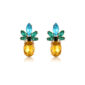 Absolutely luxurious pineapples, very chic, very classy these earrings are so light and versatile you can wear it for any occasion. Shiny blue, yolk, and deep green rhinestones. Feel lucky and match these earrings with anything, casual to formal. Small but powerful, wear them with a little black dress, or a casual-chic outfit.