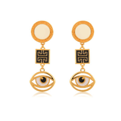 This elegant and beautiful Greek-chic pair of earrings is made of fine 24K gold-plated pieces. A black enamel meander and an evil-eye with a beautiful enamel finish. You can wear them all day or for a fancy night out.