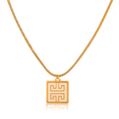 Very classy and beautiful Greek-chic necklace, with a chunky black 24K gold-plated enamel meander pendant, hanging from a beautiful 24k gold-plated stainless-steel snake chain. An impressive necklace featuring the Greek meander symbol, known as the Greek Key. Wear it with your favorite style to add a little Greek-chic to your everyday look. A perfect gift idea, full of symbolism, a meaningful piece for those who value the past and the present.