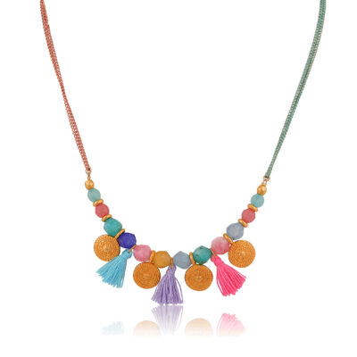 This short and beautiful Bohemian necklace is made of pink and mint double chains. Multicolor jade beads, 24K gold-plated brass disc and colorful little tassels. Perfect to complete your favorite Bohemian outfit.