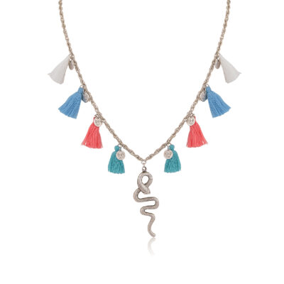 A long multicolor tassel necklace, with a 999° antique silver snake and little textured discs, cast to a rope silver chain. Wear it with your favorite Bohemian dress.