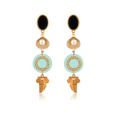 Drop earrings with shell and Greek chic element