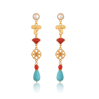 Red and turquoise Greek-chic drop earrings. Mounted on a pearl stud they're colorful and delicate. Featuring a filigree motif a red crystal and an ionic column charm, these earrings represent the endless Greek summer. They're so cute! Great for any occasion.