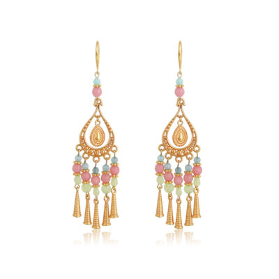 """Bohemian handmade drop-earrings. Made with pink, light green, diamond cut glass and jade beads, featuring 24K gold-plated Brass cones. An absolute summer combination of pastel pink, blue, mint and gold, this necklace complete perfectly your everyday look and is an ideal choice for casual looks. Combine it with the Callisto earrings of the """"Bohemian Queen"""" collection for a complete look!"""