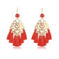 Beautiful and chic oversize boho earrings, made with a fine filigree motif. Red little silk tassels, and a red crystal are the perfect ingredient for this special piece of jewelry.