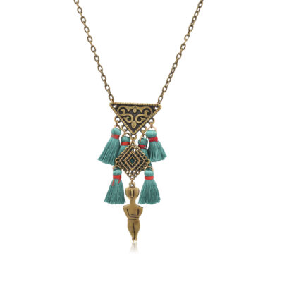 """Made of bronze, inspired by the ancient Greek Cycladic figurines,this necklace is aunique jewelry. It's a symbol of fertility and femininity. The filigree triangle represents the women genitalia. Thanks to its tiny red pompoms this necklace really pop out on any outfit. Combine it with the Lourou earrings from our """"All Greek to me"""" collection."""