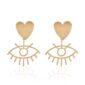 evil-eye earrings with a heart stud