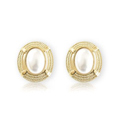 Chunky art deco gold framed pearly earrings, they will make you feel like you're on the top of the world, like Alexis Colby on Dynasty.