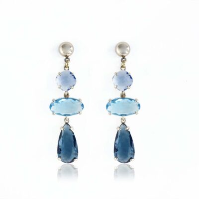 blue sapphire drop-earrings with gold stud, 3 different shade of blue