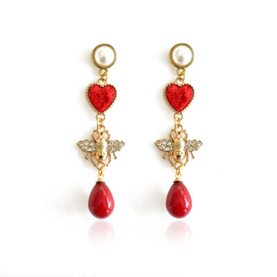 Bee drop earring with red drop