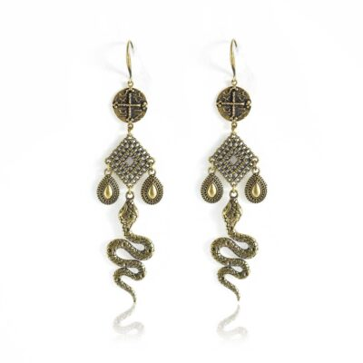 """Bronze drop-earrings mount to the powerful ICXC NICA symbol. Beautiful bronze drops and a diamond shape connector. This pair of earrings is the most powerful talisman you can wear. The snakes were prominent in Greek mythology. The ancient Greeks regarded them as sacred. Inspired by our """"All Greek to me"""" collection, the Manasa earrings lets you keep the wisdom close to you, all year long."""
