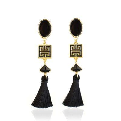 black and gold enamel stud earrings with meander and black tassel