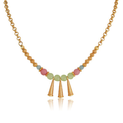 """Bohemianhandmade short necklace. Made with pink, light green, diamond cut glass and jade beads, featuring 24K gold-plated Brass cones. An absolutesummer combination of pastel pink, blue, mint and gold, this necklace complete perfectly your everyday look and is an ideal choice for casual looks.  Combine it with the Callistoearrings of the """"Bohemian Queen"""" collection for a complete look!"""
