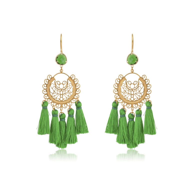 So chic boho earrings. Made with green little silk tassels. A beautifully made filigree motif, attachedto a green diamond-shape crystal, dangling from a 24K Gold-plated hook. This pair is perfect for adding a Bohemian touch to your most sophisticated looks.