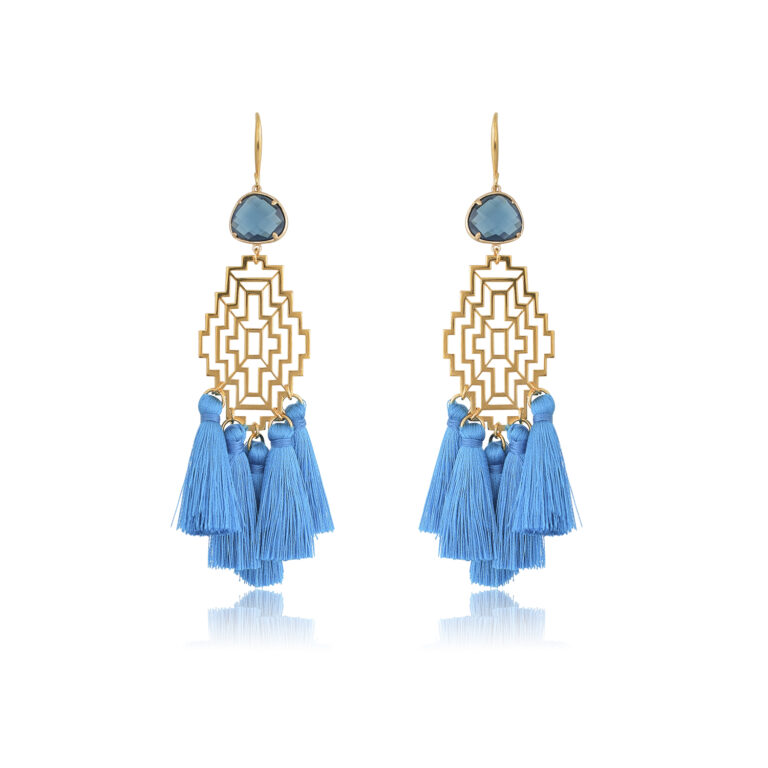 Amazing boho earrings. Made with blue silk tassels. A beautiful maze filigree motif, attached to a blue irregular crystal. Cast to a 24K Gold-plated hook. This pair is perfect for adding a Bohemian touch to your most sophisticated looks.