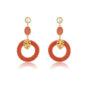 Orange rattan hoops earrings with benjamin leave